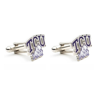 Texas Christian University Cuff Links with complimentary Weave Texture Valet Box - Tie Bars & Cuff Links