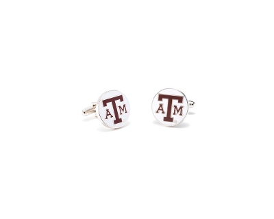Texas A&M University Cuff Links with complimentary Weave Texture Valet Box - Tie Bars & Cuff Links