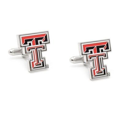 Texas Tech University Cuff Links with complimentary Weave Texture Valet Box - Tie Bars & Cuff Links