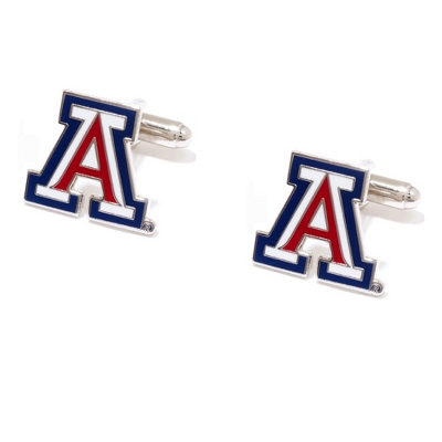 University of Arizona Cuff Links with complimentary Weave Texture Valet Box - Tie Bars & Cuff Links