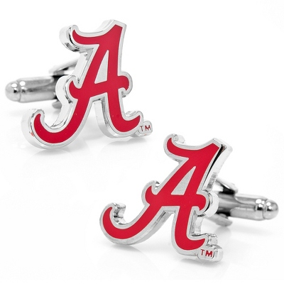 University of Alabama Cuff Links with complimentary Weave Texture Valet Box - Tie Bars & Cuff Links