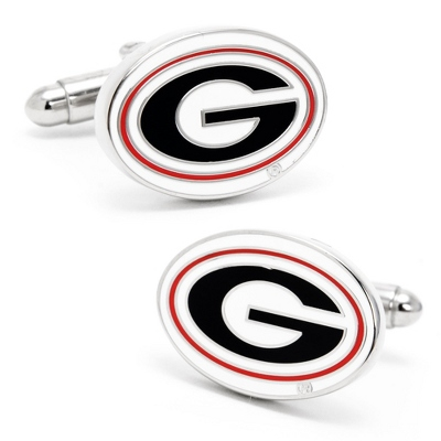 University of Georgia Cuff Links with complimentary Weave Texture Valet Box - Tie Bars & Cuff Links