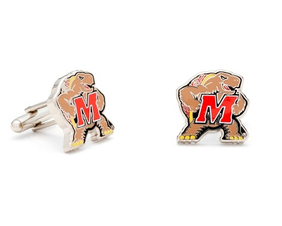 University of Maryland Cuff Links with complimentary Weave Texture Valet Box - Tie Bars & Cuff Links