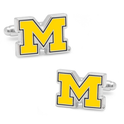 University of Michigan Cuff Links with complimentary Weave Texture Valet Box - Tie Bars & Cuff Links