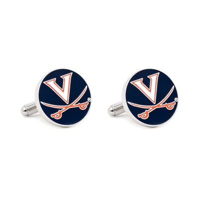 University of Virginia Cuff Links with complimentary Weave Texture Valet Box - Tie Bars & Cuff Links