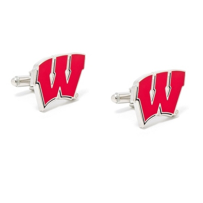 University of Wisconsin Cuff Links with complimentary Weave Texture Valet Box - $60.00