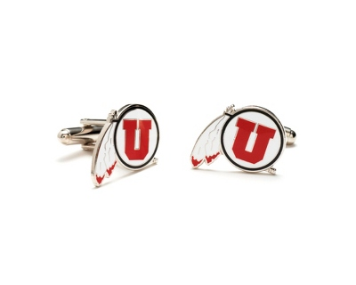 University of Utah Cuff Links with complimentary Weave Texture Valet Box - $60.00