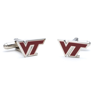 Virginia Tech Cuff Links with complimentary Weave Texture Valet Box - Men's Jewelry