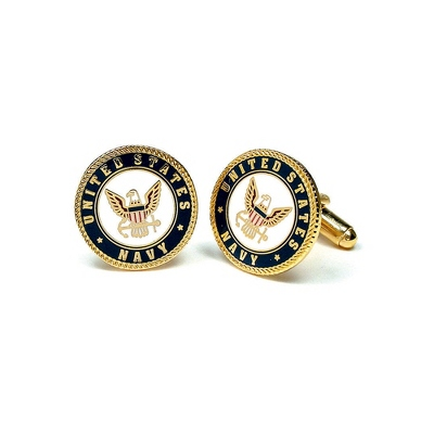 Navy Cuff Links with complimentary Weave Texture Valet Box