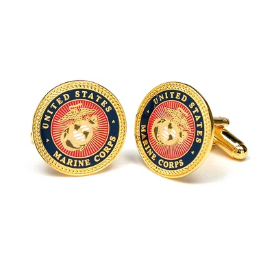 Marines Cuff Links with complimentary Weave Texture Valet Box