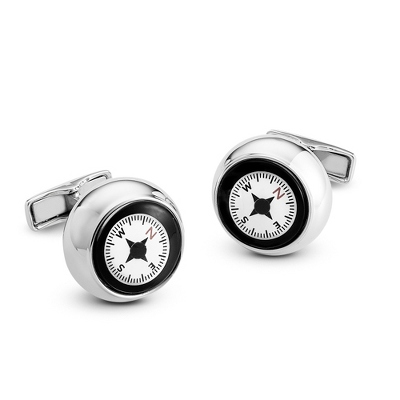 Sterling Compass Cuff Links with complimentary Weave Texture Valet Box