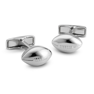 Sterling Football Cuff Links with complimentary Weave Texture Valet Box