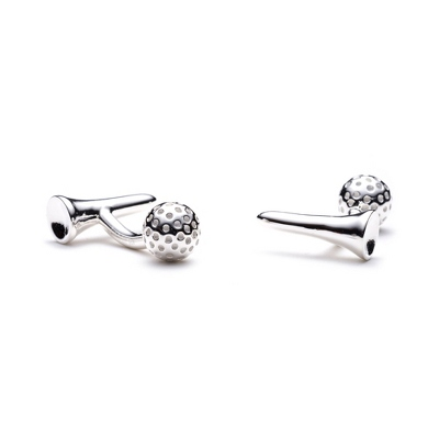 Sterling Golf Ball and Tee Cuff Links with complimentary Weave Texture Valet Box