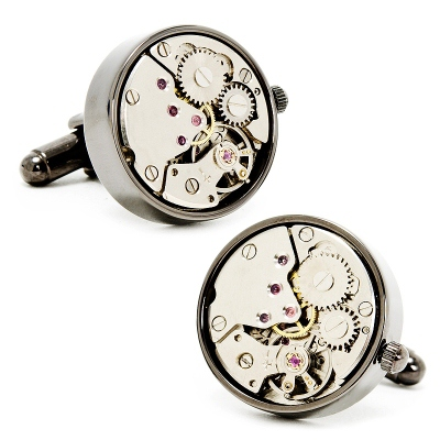 Gunmetal Watch Movement Cuff Links with complimentary Weave Texture Valet Box