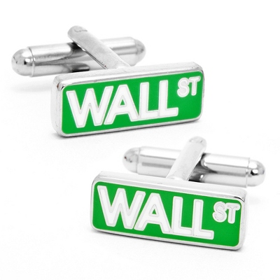 Wall Street Cuff Links with complimentary Weave Texture Valet Box - Tie Bars & Cuff Links