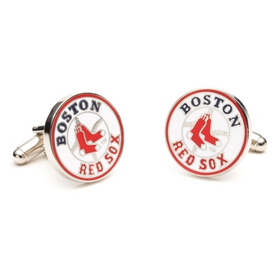 Boston Red Sox Cuff Links with complimentary Weave Texture Valet Box - Men's Jewelry