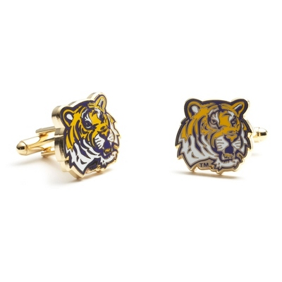 Louisiana State University Cuff Links with complimentary Weave Texture Valet Box - Tie Bars & Cuff Links