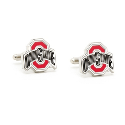 The Ohio State University Cuff Links with complimentary Weave Texture Valet Box