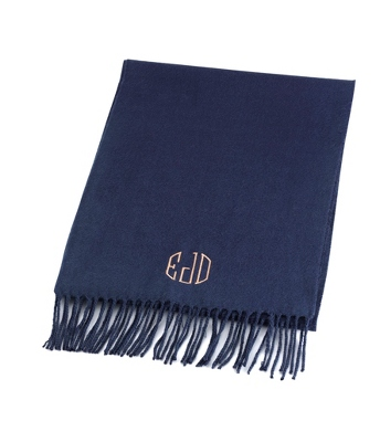 Comfy Navy Scarf - Embroidered Totes & Accessories