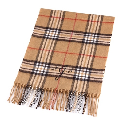 Comfy Tan Plaid Scarf - Embroidered Totes & Accessories
