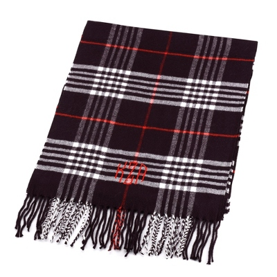 Comfy Black Plaid Scarf - Embroidered Totes & Accessories