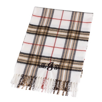 Comfy Cream Plaid Scarf - Embroidered Totes & Accessories