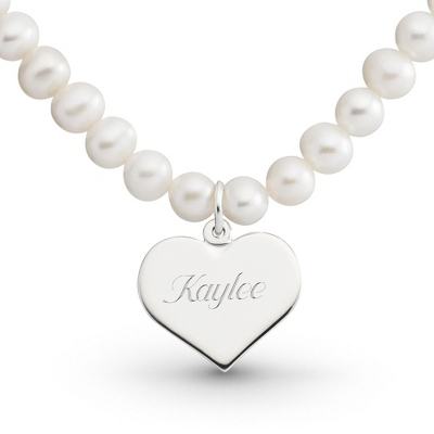 Girl's Sterling Pearl Necklace with Heart with complimentary Filigree Heart Box - Flower Girl