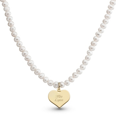 Girl's Gold/Sterling Pearl Necklace with Heart with complimentary Filigree Heart Box