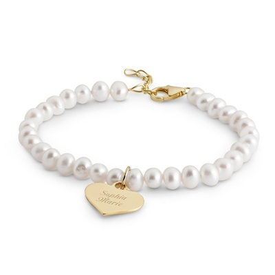 Girl's Gold/Sterling Pearl Bracelet with Heart with complimentary Filigree Heart Box - Flower Girl