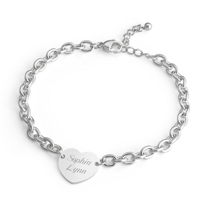 Girl's Sterling Heart Bracelet with complimentary Filigree Heart Box