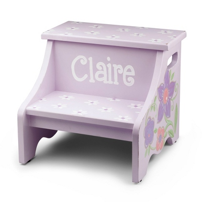 Purple Flower Hand-Painted Stool
