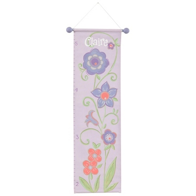 Purple Flower Hand-painted Growth Chart - $65.00
