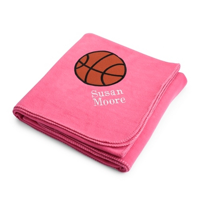 Basketball Design on Pink Fleece Blanket - Throws for Her