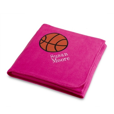 Basketball Design on Bright Pink Fleece Blanket