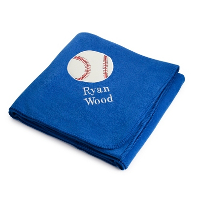 Baseball Design on Royal Fleece Blanket