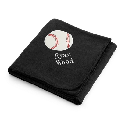 Baseball Design on Black Fleece Blanket