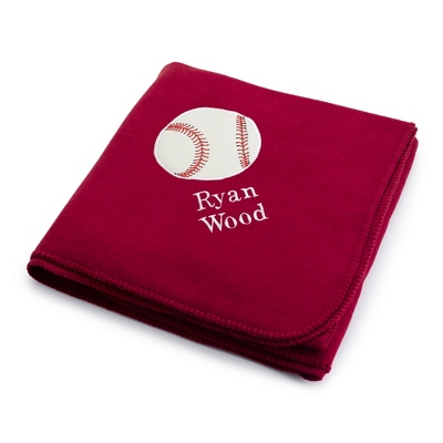 Baseball Design on Burgundy Fleece Blanket