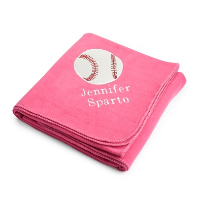 Baseball Design on Pink Fleece Blanket