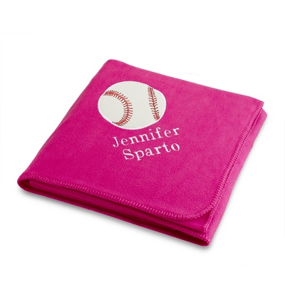 Baseball Design on Bright Pink Fleece Blanket