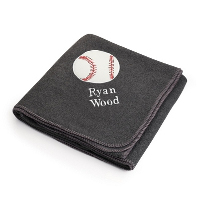 Baseball Design on Charcoal Fleece Blanket