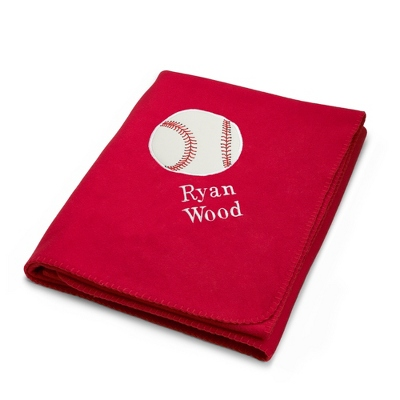 Baseball Design on Red Fleece Blanket