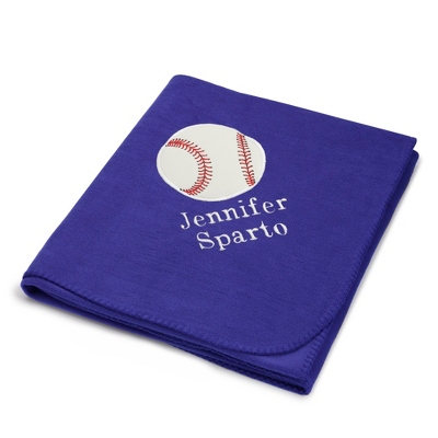 Baseball Design on Purple Fleece Blanket