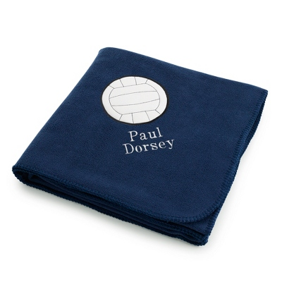Volleyball Design on Navy Fleece Blanket