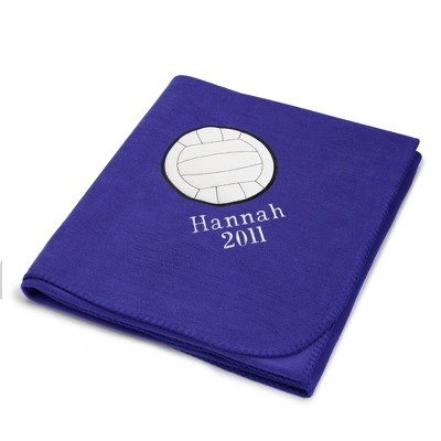 Volleyball Design on Purple Fleece Blanket