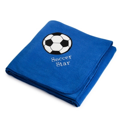 Soccerball Design on Royal Fleece Throw