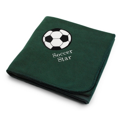 Soccerball on Forest Green Fleece Blanket