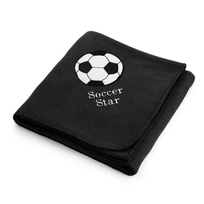 Soccerball Design on Black Fleece Blanket