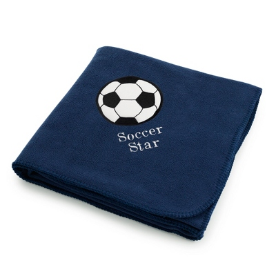 Soccerball Design on Navy Fleece Blanket
