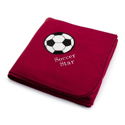 Soccerball Design on Burgundy Fleece Blanket