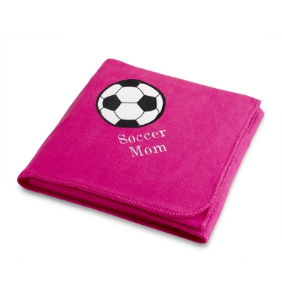 Soccerball Design on Bright Pink Fleece Blanket